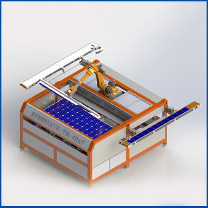 Laser Positioning Full Automatic Robot Battery Connection in Series for Solar Modules